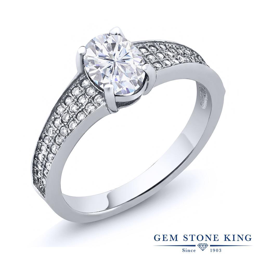 Gem Stone King 1.98カラット Forever Brilliant モアサナイト Charles & Colvard シルバー925 指輪 リング レディース モアッサナイト 大粒 ソリティア 金属アレルギー対応 誕生日プレゼント