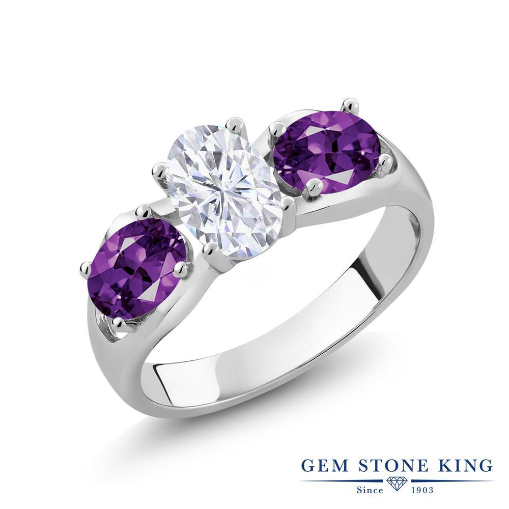 Gem Stone King 1.8カラット Forever Brilliant モアサナイト Charles & Colvard 天然 アメジスト シルバー925 指輪 リング レディース モアッサナイト シンプル スリーストーン 金属アレルギー対応 誕生日プレゼント