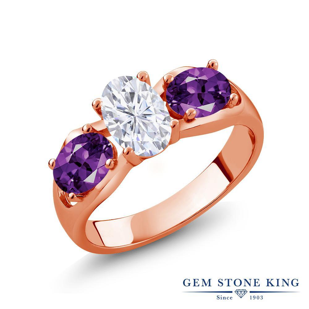 Gem Stone King 1.8カラット Forever Brilliant モアサナイト Charles & Colvard 天然 アメジスト シルバー925 ピンクゴールドコーティング 指輪 リング レディース モアッサナイト シンプル スリーストーン 金属アレルギー対応 誕生日プレゼント