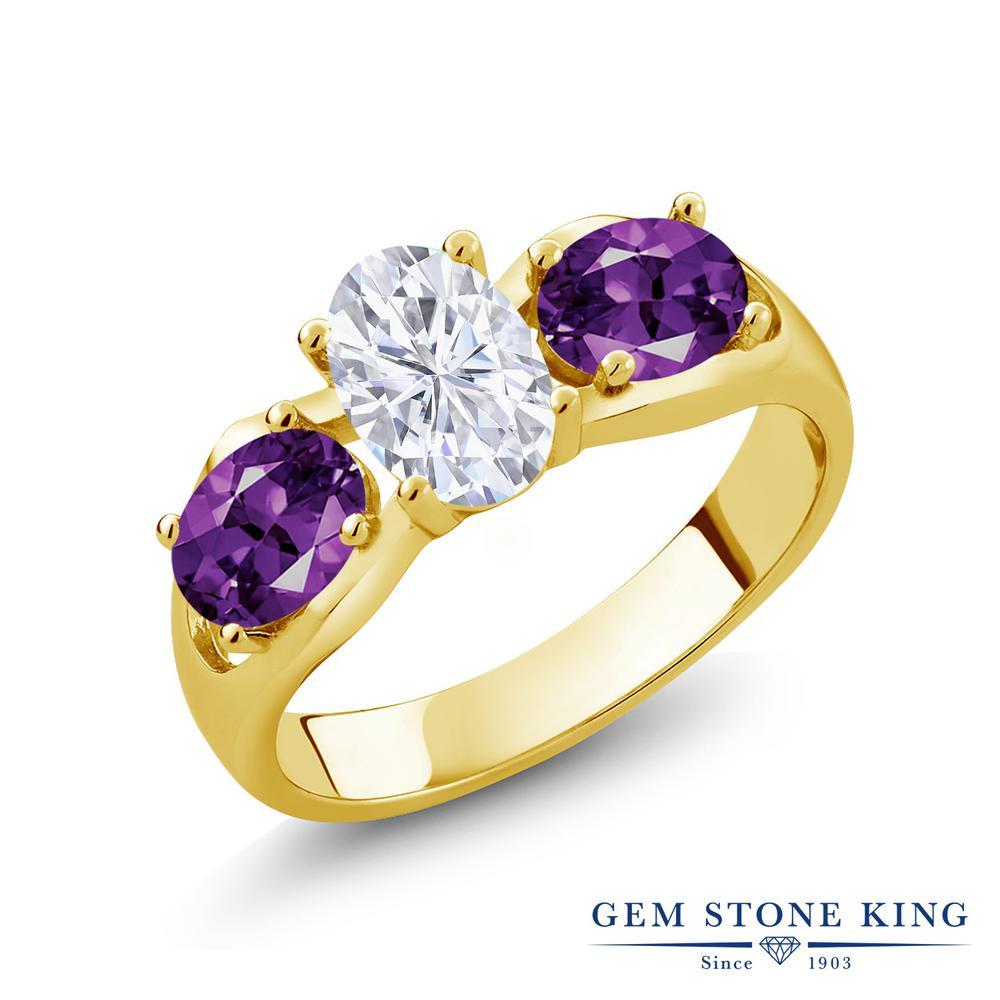 Gem Stone King 1.8カラット Forever Brilliant モアサナイト Charles & Colvard 天然 アメジスト シルバー925 イエローゴールドコーティング 指輪 リング レディース モアッサナイト シンプル スリーストーン 金属アレルギー対応 誕生日プレゼント