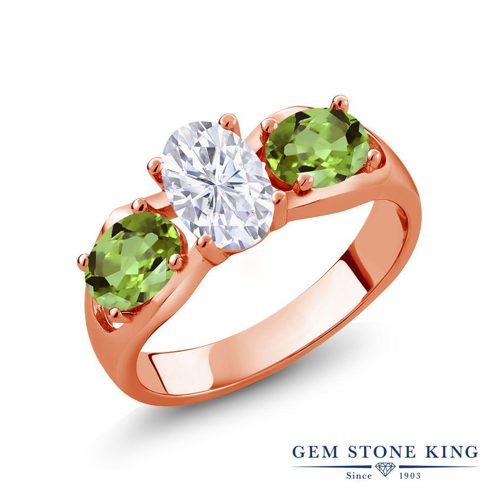 Gem Stone King 1.9カラット Forever Brilliant モアサナイト Charles & Colvard 天然石 ペリドット シルバー925 ピンクゴールドコーティング 指輪 リング レディース モアッサナイト シンプル スリーストーン 金属アレルギー対応 誕生日プレゼント