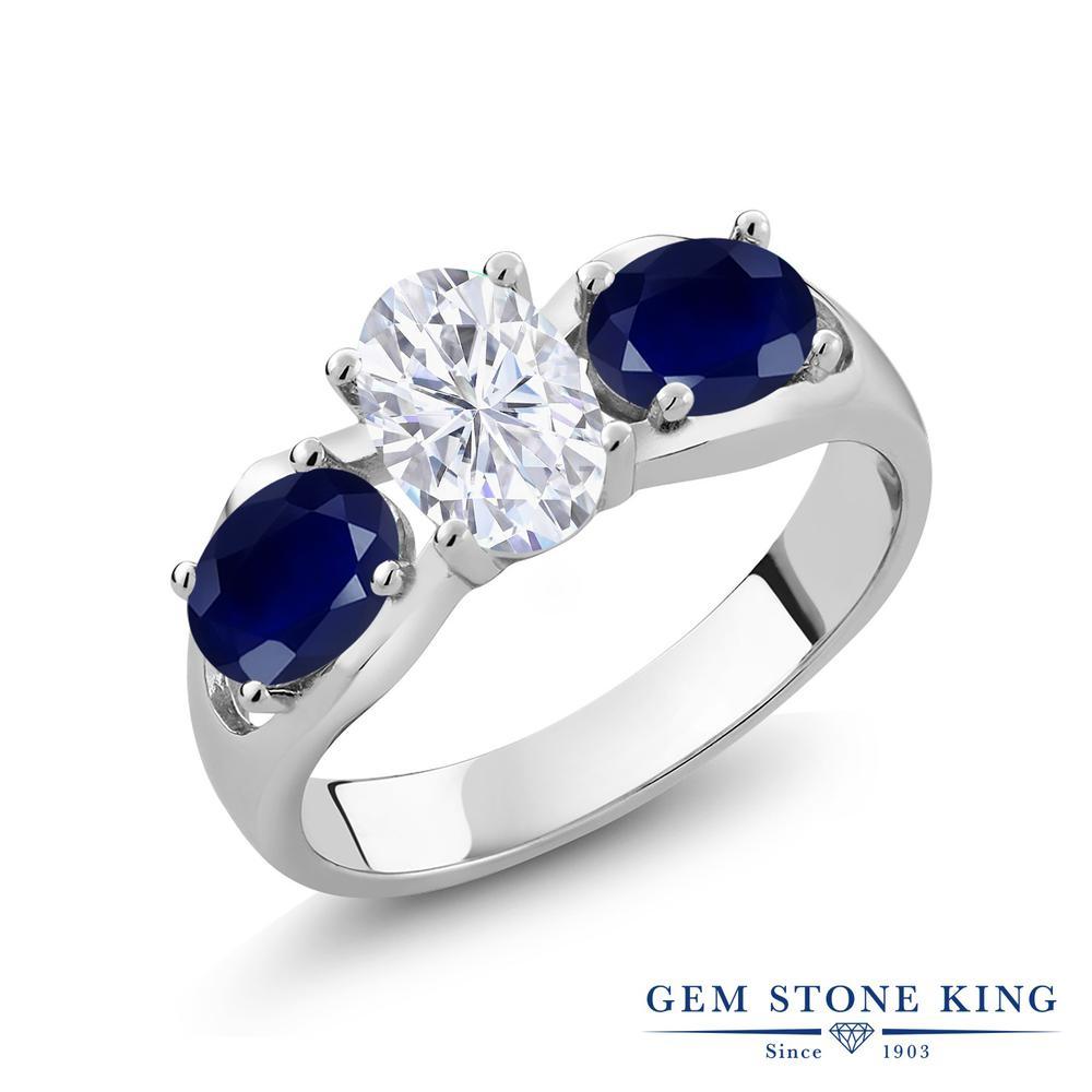 Gem Stone King 2.01カラット Forever Brilliant モアサナイト Charles & Colvard 天然 サファイア シルバー925 指輪 リング レディース モアッサナイト シンプル スリーストーン 金属アレルギー対応 誕生日プレゼント