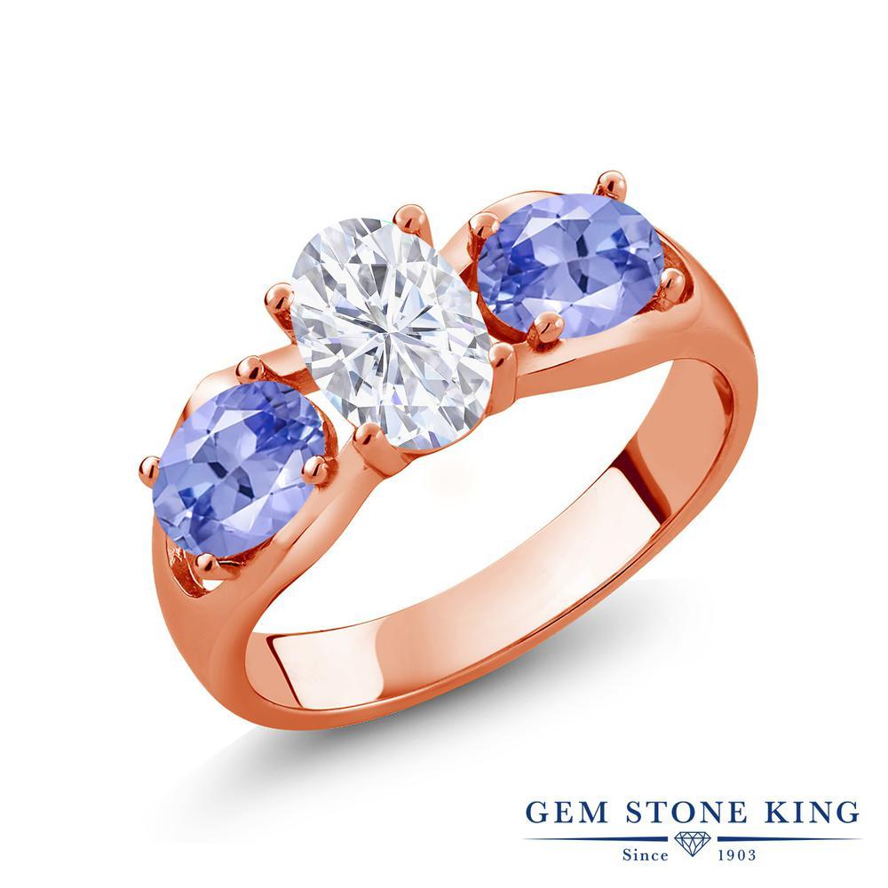 Gem Stone King 1.8カラット Forever Brilliant モアサナイト Charles & Colvard 天然石 タンザナイト シルバー925 ピンクゴールドコーティング 指輪 リング レディース モアッサナイト シンプル スリーストーン 金属アレルギー対応 誕生日プレゼント