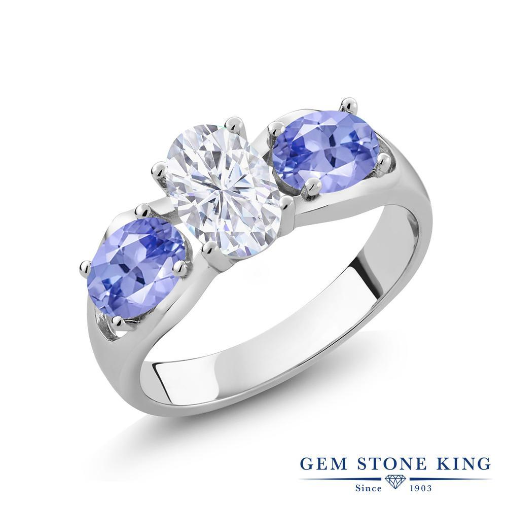 Gem Stone King 1.8カラット Forever Brilliant モアサナイト Charles & Colvard 天然石 タンザナイト シルバー925 指輪 リング レディース モアッサナイト シンプル スリーストーン 金属アレルギー対応 誕生日プレゼント