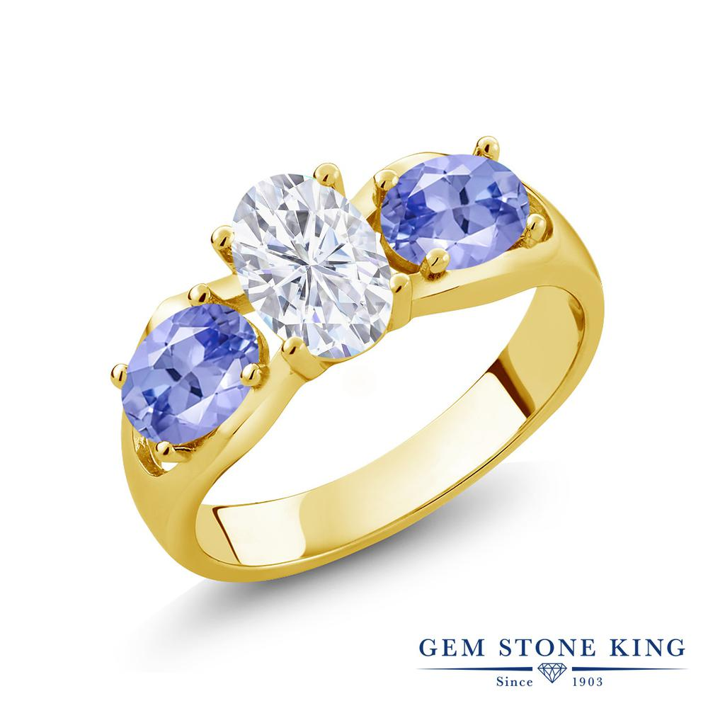 Gem Stone King 1.8カラット Forever Brilliant モアサナイト Charles & Colvard 天然石 タンザナイト シルバー925 イエローゴールドコーティング 指輪 リング レディース モアッサナイト シンプル スリーストーン 金属アレルギー対応 誕生日プレゼント