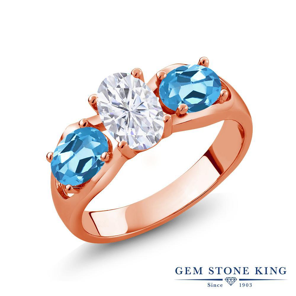 Gem Stone King 2カラット Forever Brilliant モアサナイト Charles & Colvard 天然 スイスブルートパーズ シルバー925 ピンクゴールドコーティング 指輪 リング レディース モアッサナイト シンプル スリーストーン 金属アレルギー対応 誕生日プレゼント