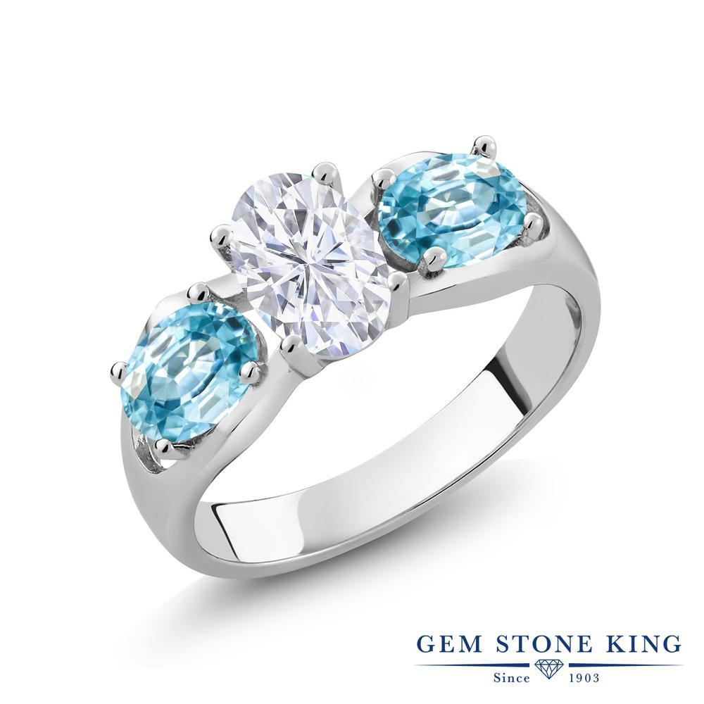 Gem Stone King 2.2カラット Forever Brilliant モアサナイト Charles & Colvard 天然石 ブルージルコン シルバー925 指輪 リング レディース モアッサナイト シンプル スリーストーン 金属アレルギー対応 誕生日プレゼント