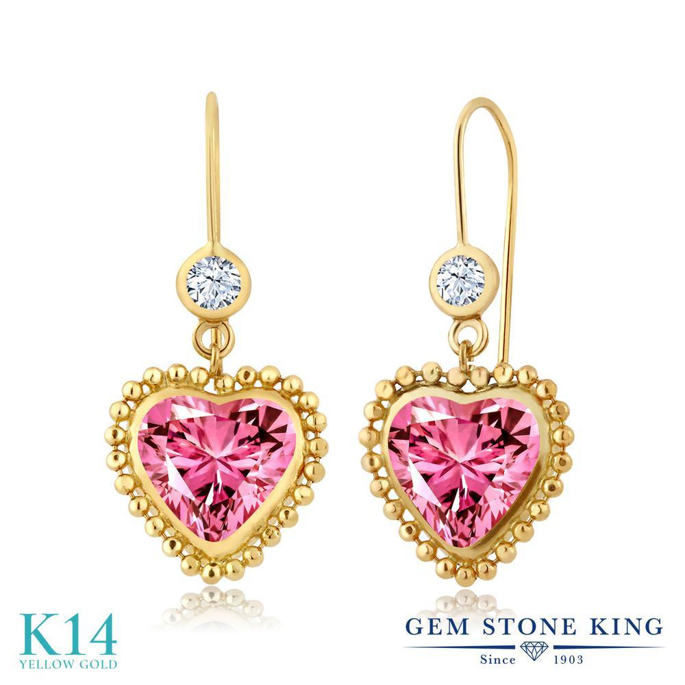 Gem Stone King 1.22カラット ジルコニア(ピンク) 14金 イエローゴールド(K14) ピアス レディース CZ 小粒 レバーバック 金属アレルギー対応 誕生日プレゼント