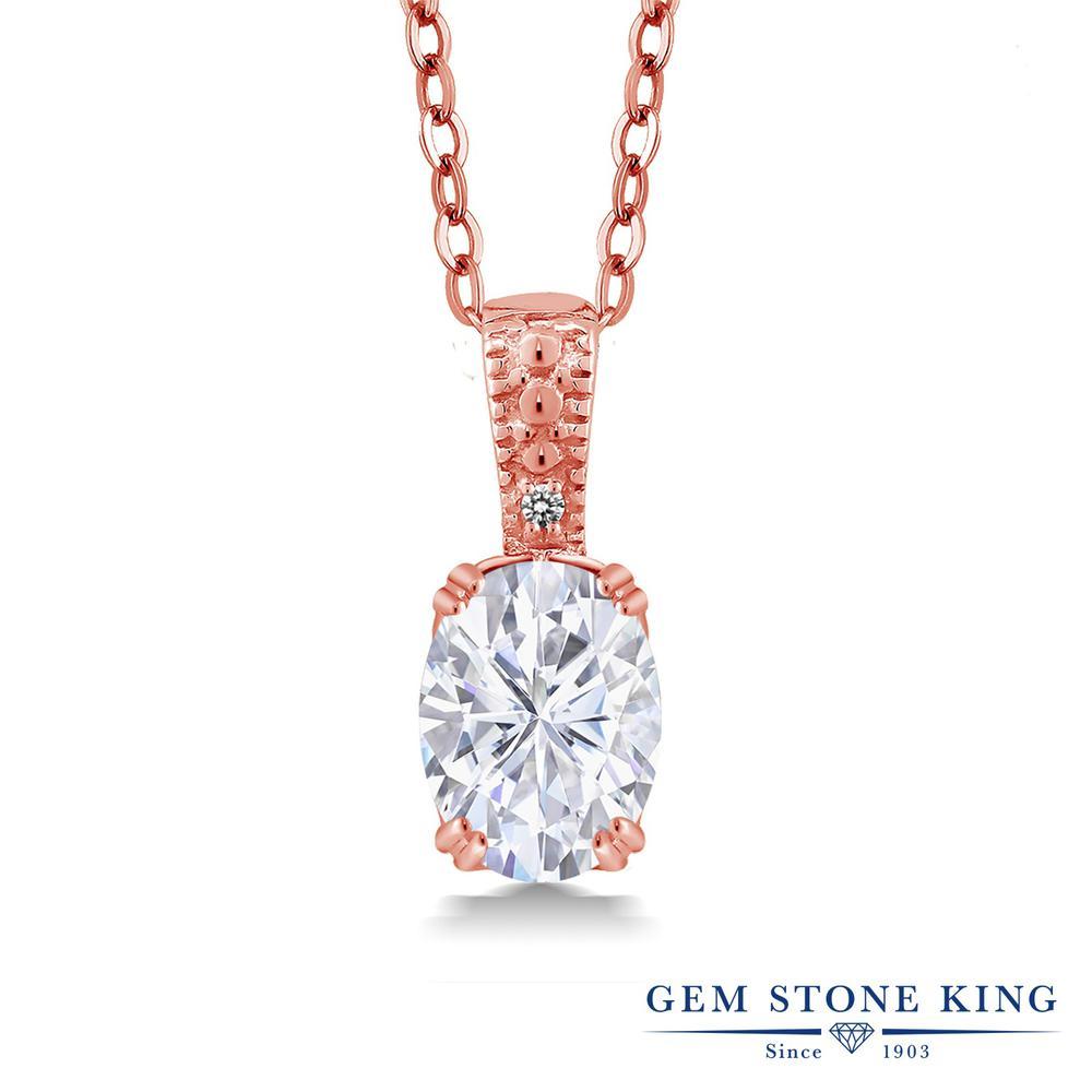 Gem Stone King 1.51カラット Forever Brilliant モアサナイト Charles & Colvard 天然 ダイヤモンド シルバー925 ピンクゴールドコーティング ネックレス ペンダント レディース モアッサナイト 大粒 シンプル 金属アレルギー対応 誕生日プレゼント