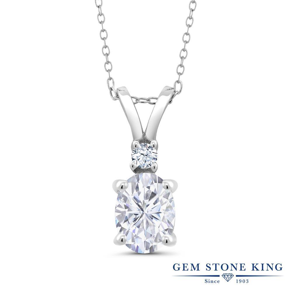 Gem Stone King 1.55カラット Forever Brilliant モアサナイト Charles & Colvard 合成ホワイトサファイア (ダイヤのような無色透明) シルバー925 ネックレス ペンダント レディース モアッサナイト 大粒 シンプル 金属アレルギー対応 誕生日プレゼント