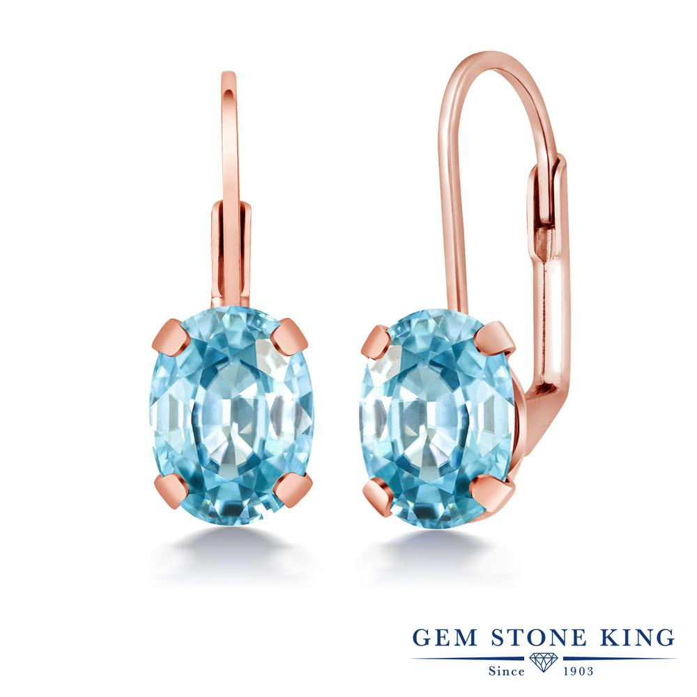 Gem Stone King 3.33カラット 天然石 ブルージルコン ピアス レディース 大粒 シンプル ハギー レバーバック 天然石 12月 誕生石 金属アレルギー対応 誕生日プレゼント