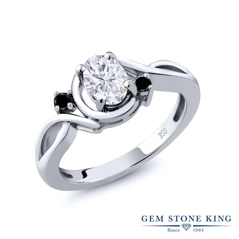 Gem Stone King 0.97カラット Forever Brilliant モアサナイト Charles & Colvard 天然ブラックダイヤモンド シルバー925 指輪 リング レディース モアッサナイト シンプル 金属アレルギー対応 誕生日プレゼント