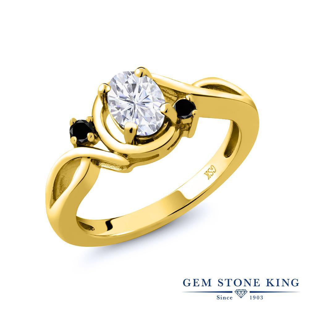 Gem Stone King 0.97カラット Forever Brilliant モアサナイト Charles & Colvard 天然ブラックダイヤモンド シルバー925 イエローゴールドコーティング 指輪 リング レディース モアッサナイト シンプル 金属アレルギー対応 誕生日プレゼント