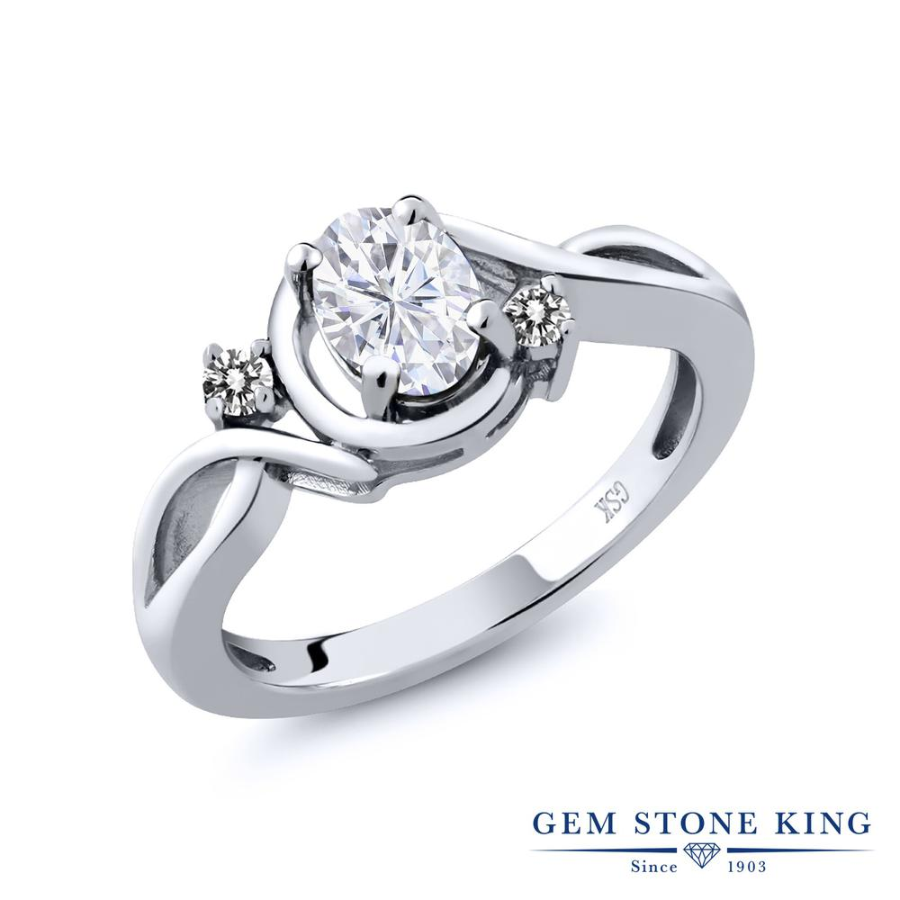 0.97カラット Forever Brilliant モアサナイト Charles & Colvard 指輪 レディース リング 天然 ダイヤモンド シルバー925 ブランド おしゃれ ツイスト ねじれ モアッサナイト シンプル プレゼント 女性 彼女 妻 誕生日