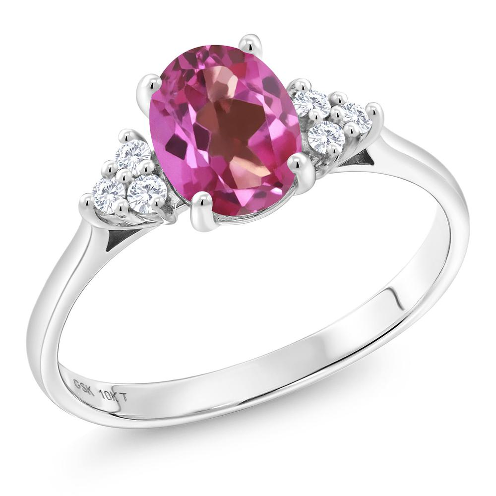Gem Stone King 1.42カラット 天然 ミスティックトパーズ (ピンク) 合成ダイヤモンド 10金 ホワイトゴールド(K10) 指輪 リング レディース 大粒 天然石 金属アレルギー対応 誕生日プレゼント