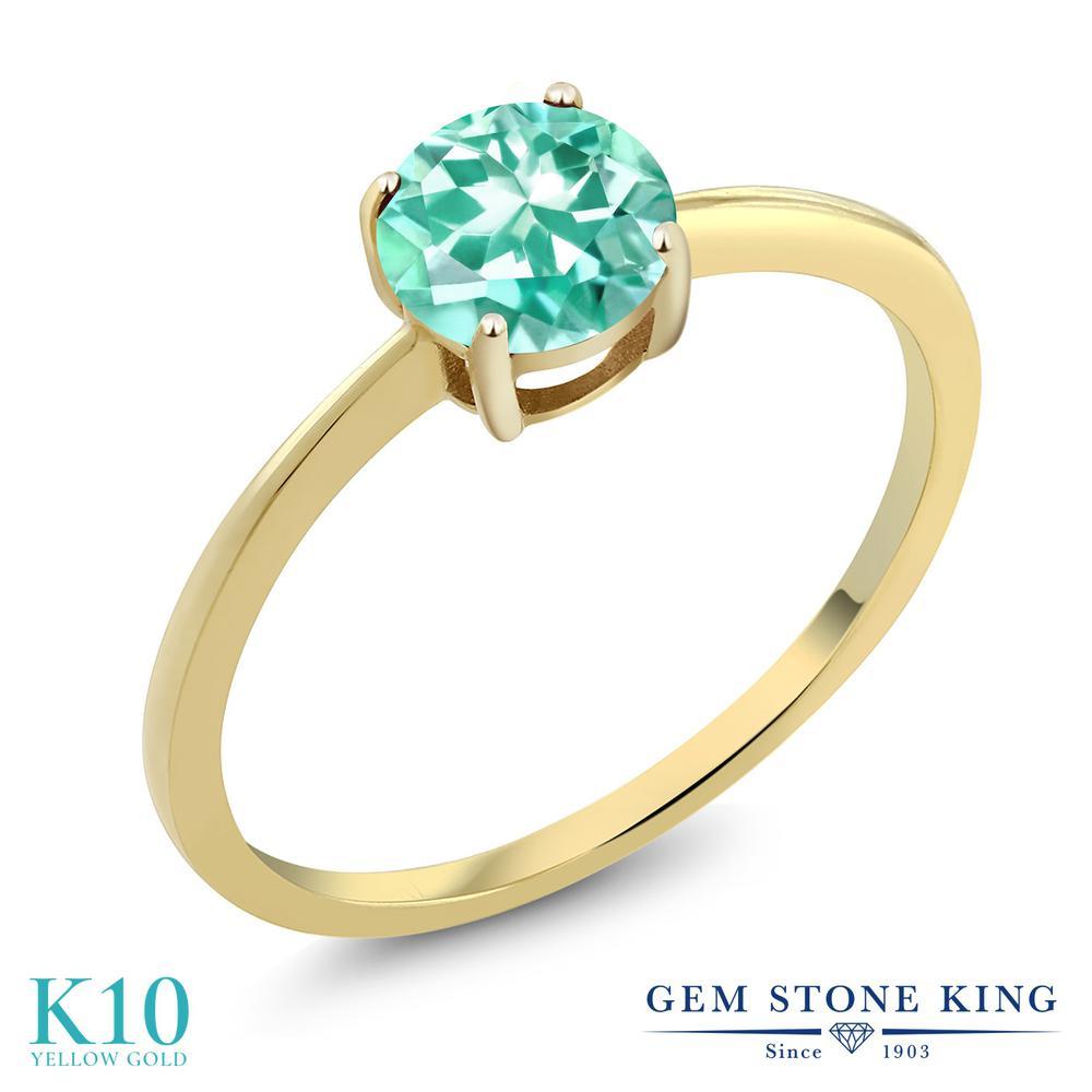 Gem Stone King 0.82カラット 天然 アパタイト 10金 イエローゴールド(K10) 指輪 リング レディース 一粒 シンプル ソリティア 天然石 金属アレルギー対応 婚約指輪 エンゲージリング