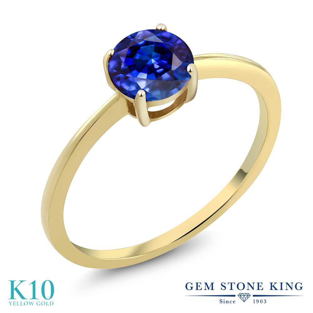 Gem Stone King 1.25カラット 天然 カイヤナイト (ブルー) 10金 イエローゴールド(K10) 指輪 リング レディース 大粒 一粒 シンプル ソリティア 天然石 金属アレルギー対応 婚約指輪 エンゲージリング