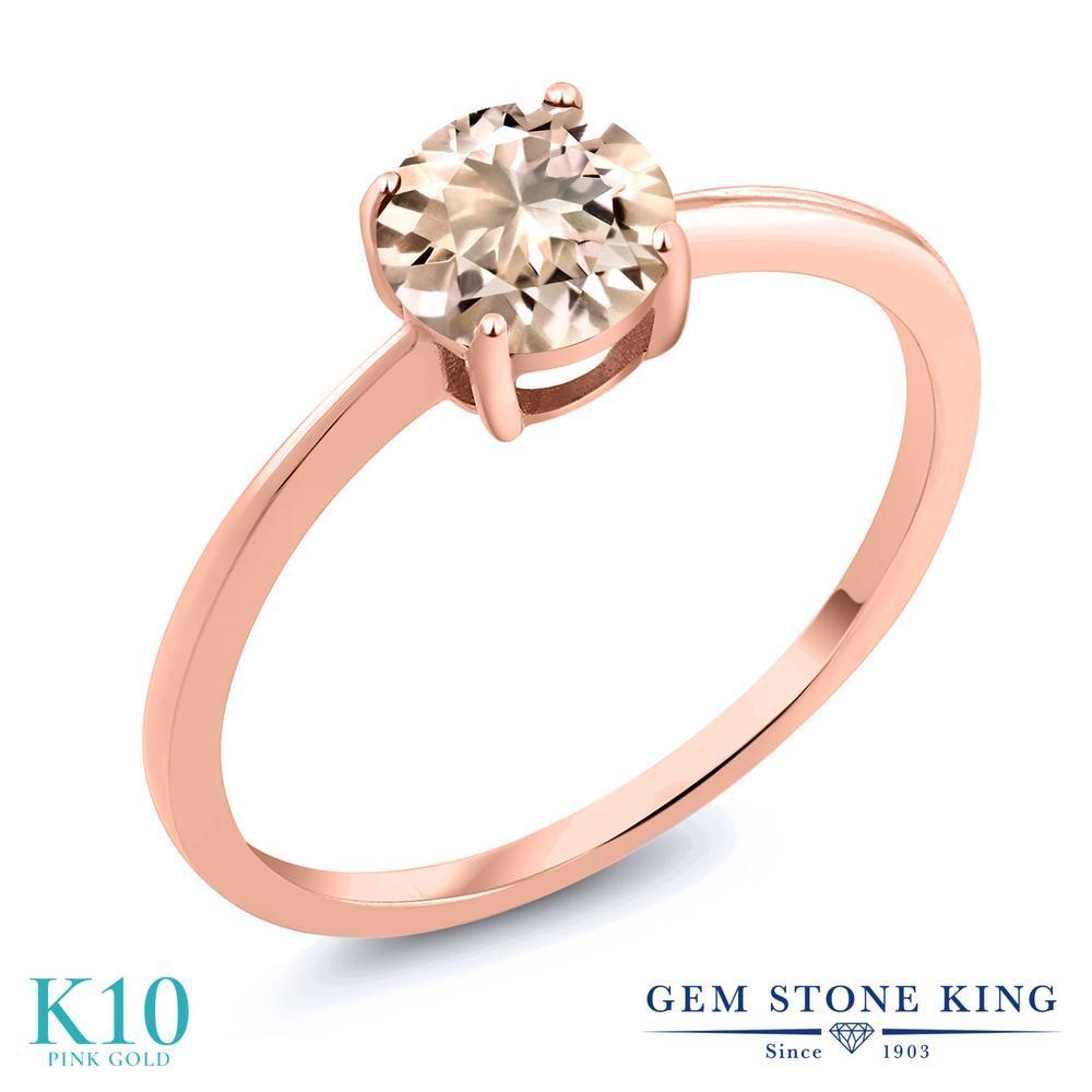 Gem Stone King 0.6カラット 天然モルガナイト(ピーチ) 10金 ローズゴールド(K10) 指輪 リング レディース 一粒 シンプル ソリティア 天然石 誕生石 金属アレルギー対応 婚約指輪 エンゲージリング