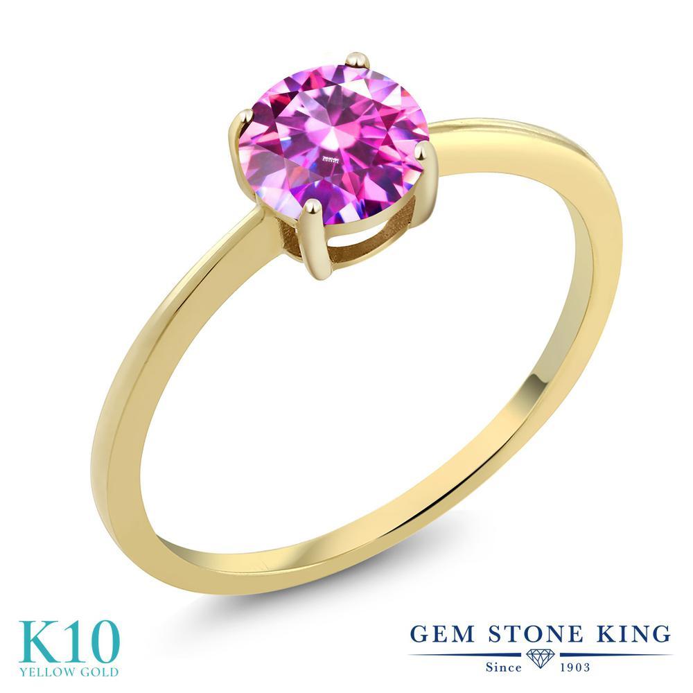 Gem Stone King スワロフスキージルコニア (ファンシーパープル) 10金 イエローゴールド(K10) 指輪 リング レディース CZ 一粒 シンプル ソリティア 金属アレルギー対応 誕生日プレゼント