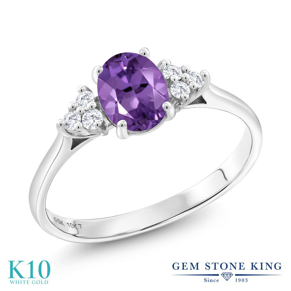 Gem Stone King 0.87カラット 天然 アメジスト 合成ダイヤモンド 10金 ホワイトゴールド(K10) 指輪 リング レディース マルチストーン 天然石 2月 誕生石 金属アレルギー対応 誕生日プレゼント