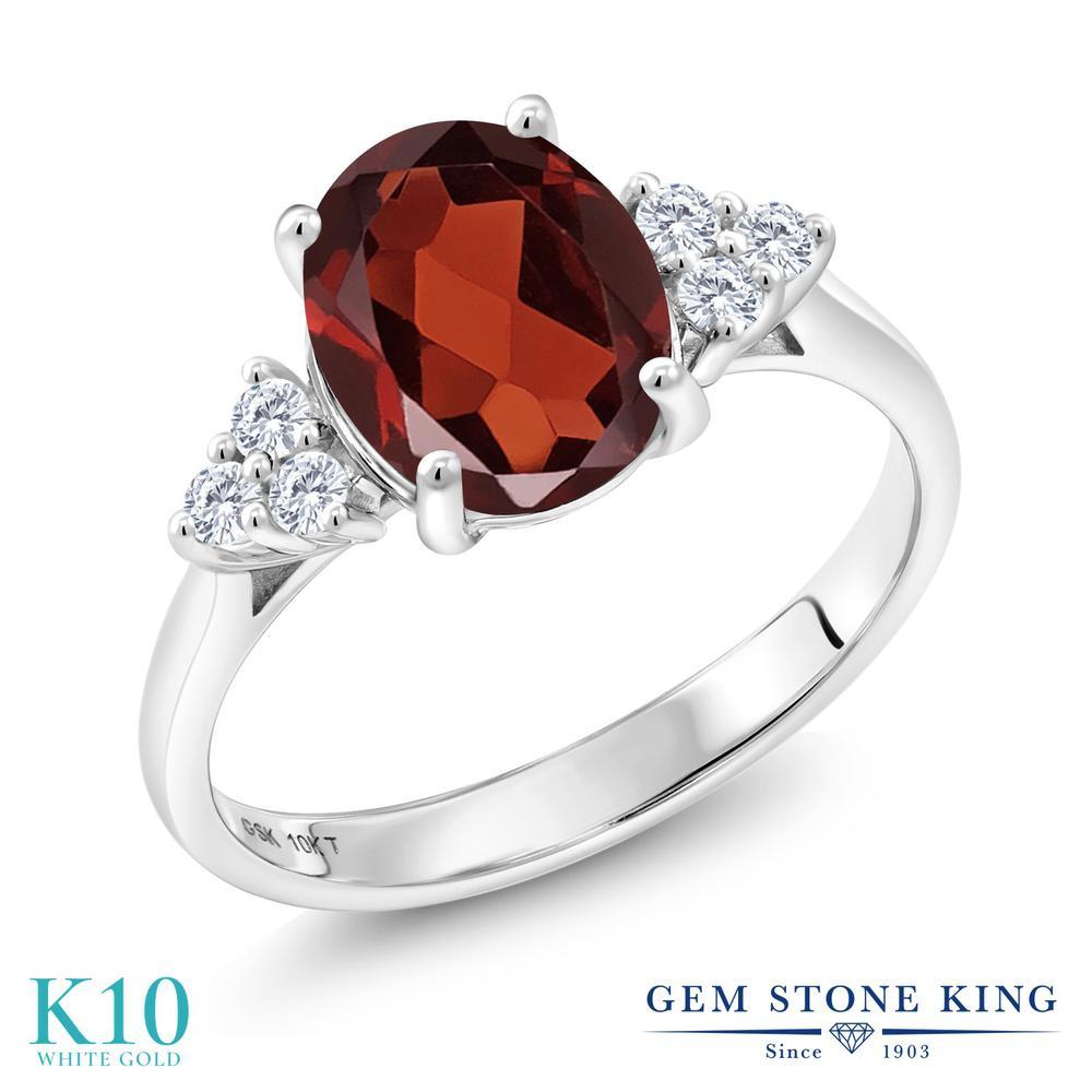 Gem Stone King 2.25カラット 天然ガーネット 10金 ホワイトゴールド(K10) 指輪 リング レディース 大粒 天然石 誕生石 婚約指輪 エンゲージリング