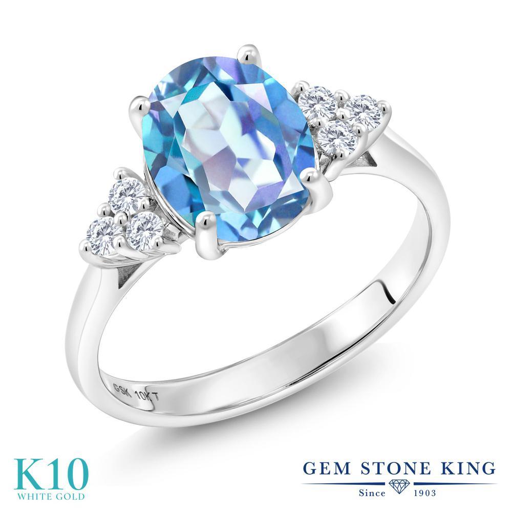 Gem Stone King 1.92カラット 天然ミスティッククォーツ(ミレニアムブルー) 10金 ホワイトゴールド(K10) 指輪 リング レディース 大粒 天然石 誕生日プレゼント