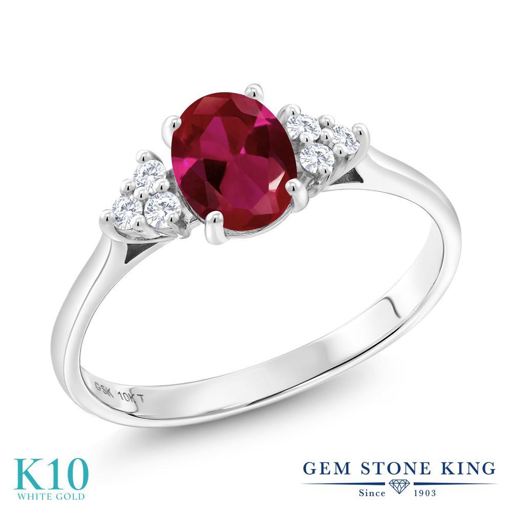 Gem Stone King 1.12カラット 合成ルビー 合成ダイヤモンド 10金 ホワイトゴールド(K10) 指輪 リング レディース 大粒 マルチストーン 金属アレルギー対応 誕生日プレゼント
