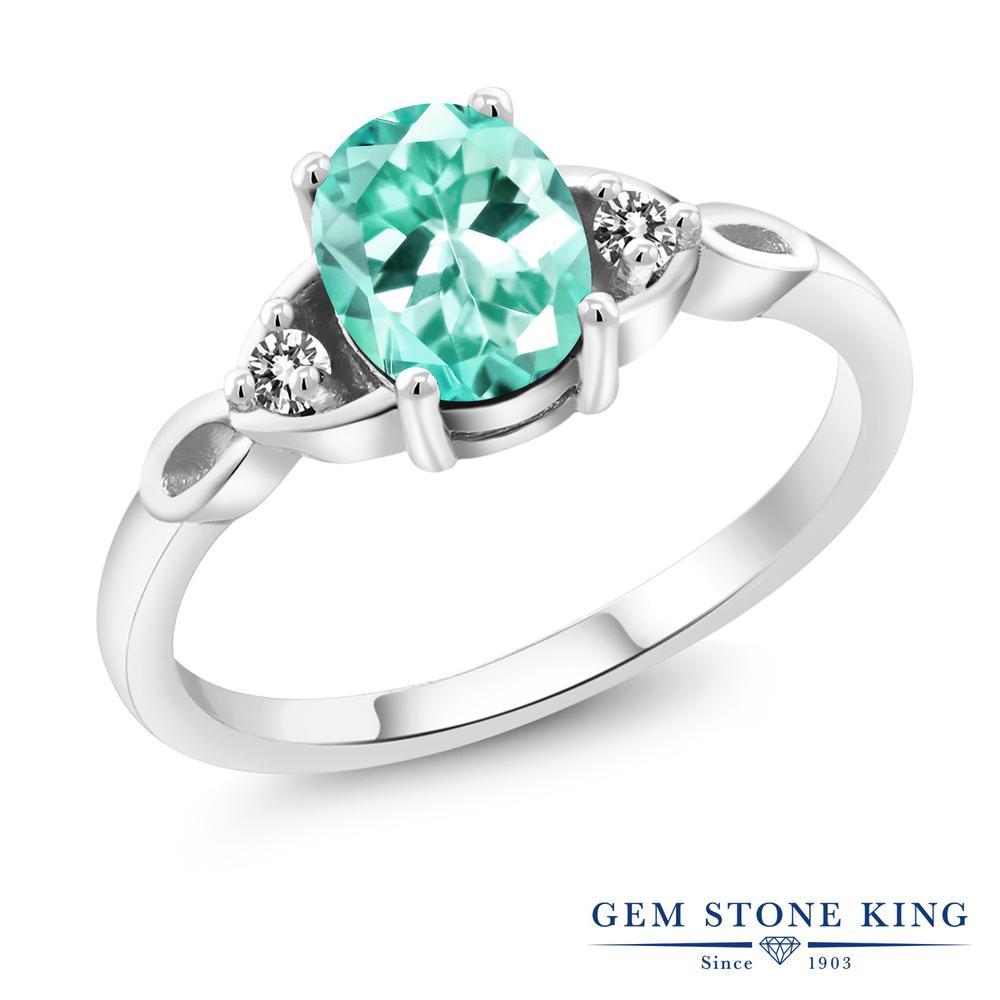 1.27カラット 天然 アパタイト ダイヤモンド 指輪 リング レディース シルバー925 大粒 一粒 シンプル スリーストーン 天然石 プレゼント 女性 彼女 妻 誕生日
