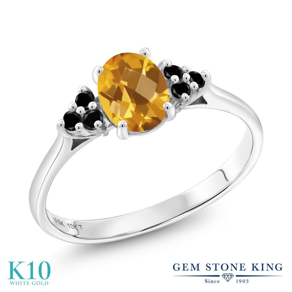 Gem Stone King 0.88カラット 天然 シトリン 天然ブラックダイヤモンド 10金 ホワイトゴールド(K10) 指輪 リング レディース マルチストーン 天然石 11月 誕生石 金属アレルギー対応 誕生日プレゼント