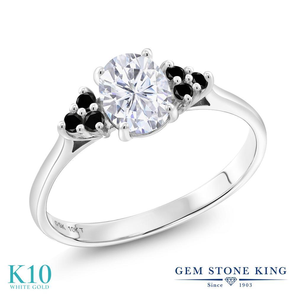 Gem Stone King 1.05カラット Forever Brilliant モアッサナイト Charles 1.05カラット & レディース モアサナイト Colvard 天然ブラックダイヤモンド 10金 ホワイトゴールド(K10) 指輪 リング レディース モアサナイト マルチストーン 金属アレルギー対応 誕生日プレゼント, おたまや:088e3777 --- ww.thecollagist.com