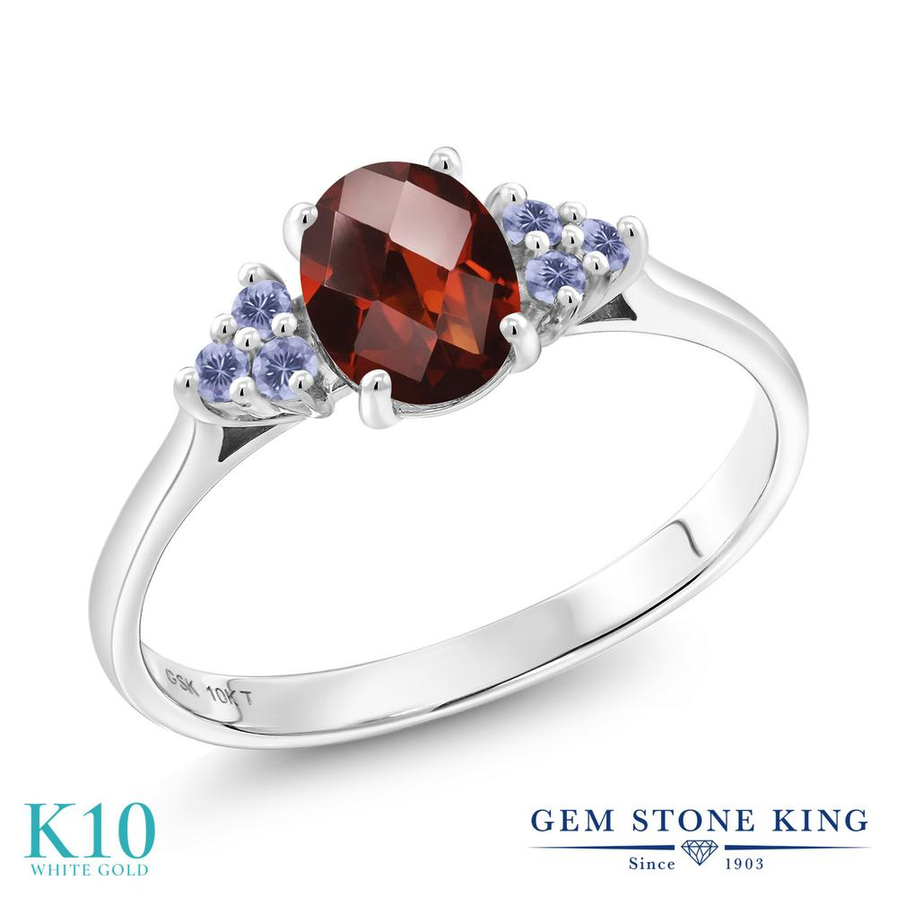 Gem Stone King 1.12カラット 天然ガーネット 天然アイオライト(ブルー) 10金 ホワイトゴールド(K10) 指輪 リング レディース 大粒 天然石 誕生石 誕生日プレゼント
