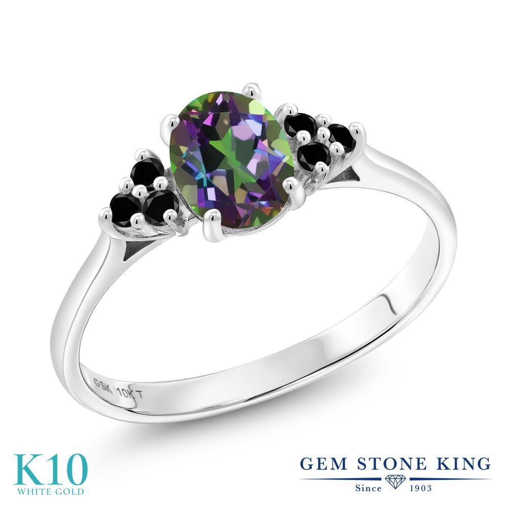 Gem Stone King 1.15カラット 天然石 ミスティックトパーズ (グリーン) 天然ブラックダイヤモンド 10金 ホワイトゴールド(K10) 指輪 リング レディース 大粒 マルチストーン 天然石 金属アレルギー対応 誕生日プレゼント