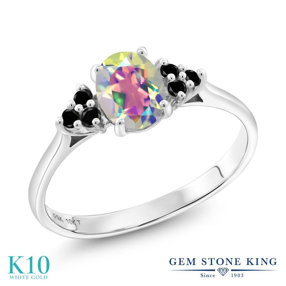 Gem Stone King 1.15カラット 天然石 ミスティックトパーズ (マーキュリーミスト) 天然ブラックダイヤモンド 10金 ホワイトゴールド(K10) 指輪 リング レディース 大粒 マルチストーン 天然石 金属アレルギー対応 誕生日プレゼント