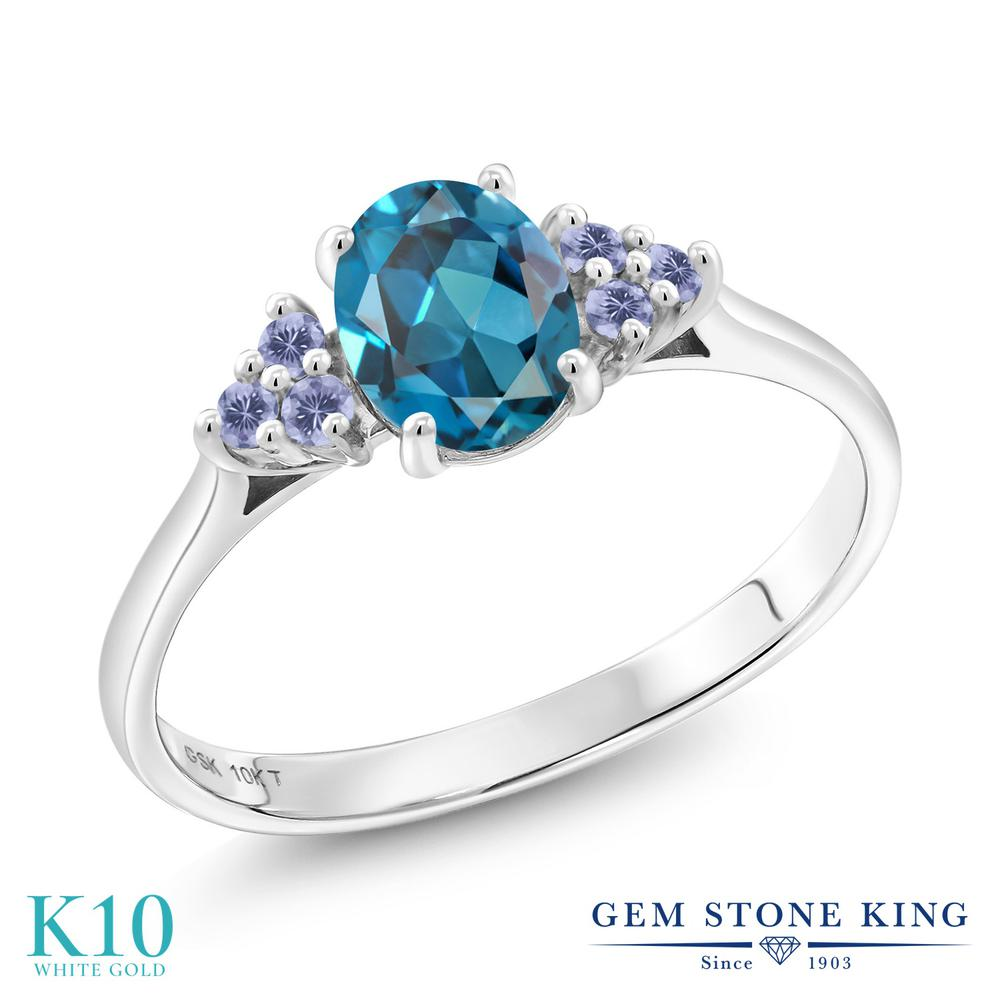 Gem Stone King 1.12カラット 天然トパーズ(ロンドンブルー) 天然アイオライト(ブルー) 10金 ホワイトゴールド(K10) 指輪 リング レディース 大粒 天然石 誕生石 誕生日プレゼント