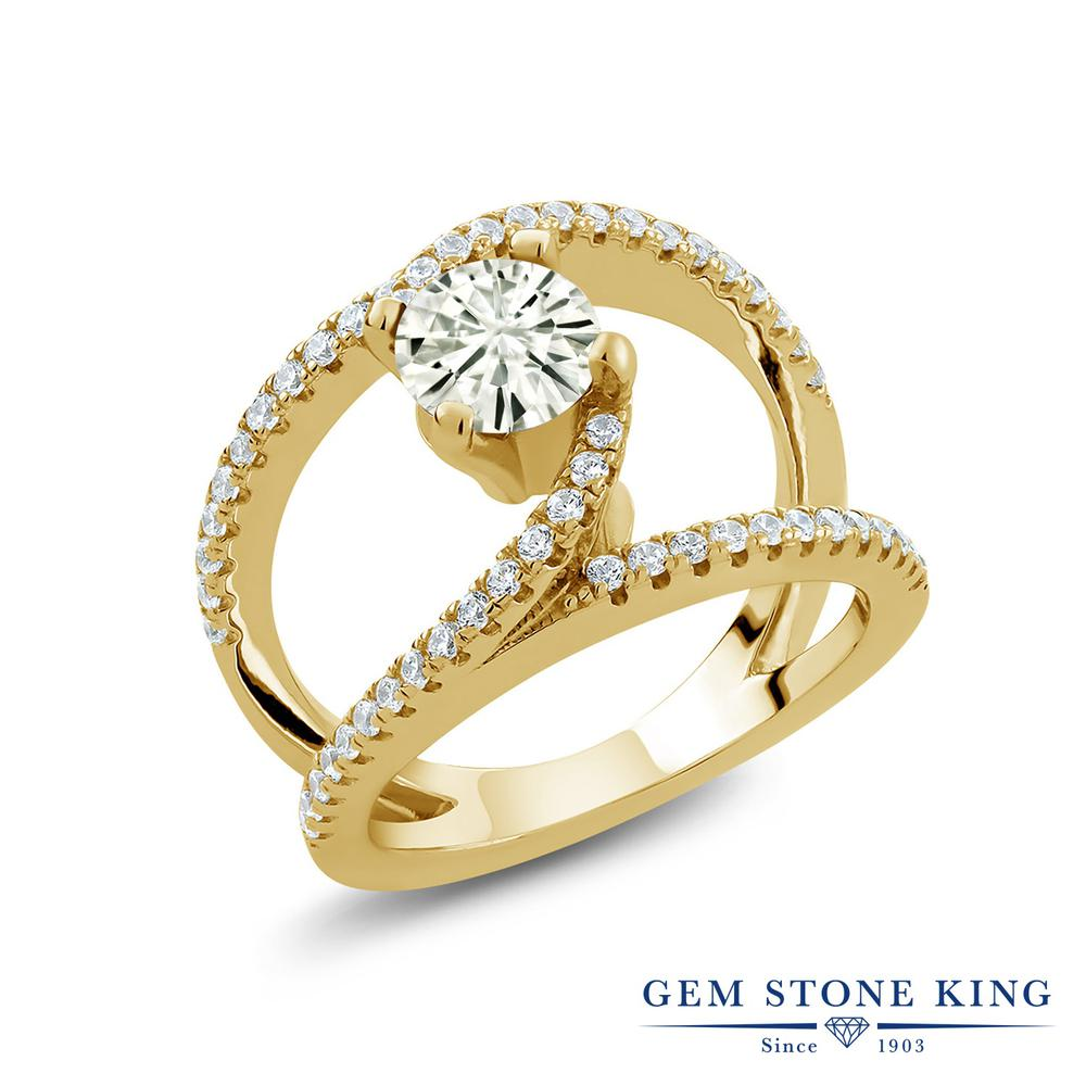 Gem Stone King 1.38カラット Forever Classic モアサナイト Charles & Colvard シルバー925 イエローゴールドコーティング 指輪 リング レディース モアッサナイト カクテル 金属アレルギー対応 誕生日プレゼント