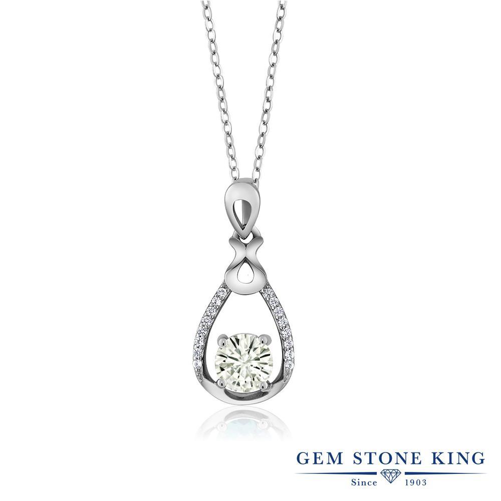 Gem Stone King 0.99カラット Forever Classic モアサナイト Charles & Colvard シルバー925 ネックレス ペンダント レディース モアッサナイト 金属アレルギー対応 誕生日プレゼント