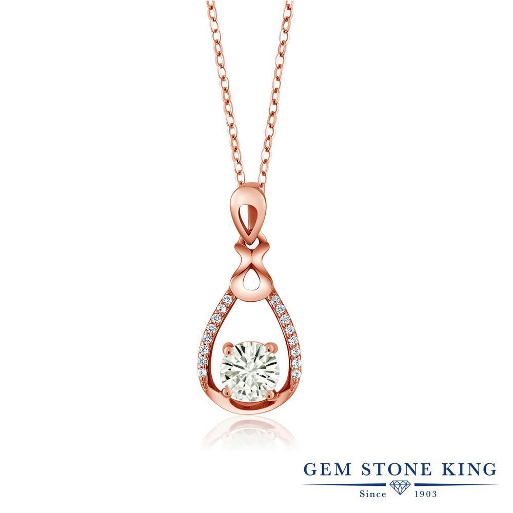 【クーポンで7%OFF】 Gem Stone King 0.99カラット Forever Classic モアサナイト Charles & Colvard シルバー925 ピンクゴールドコーティング ネックレス ペンダント レディース モアッサナイト プレゼント 女性 彼女 誕生日 クリスマス