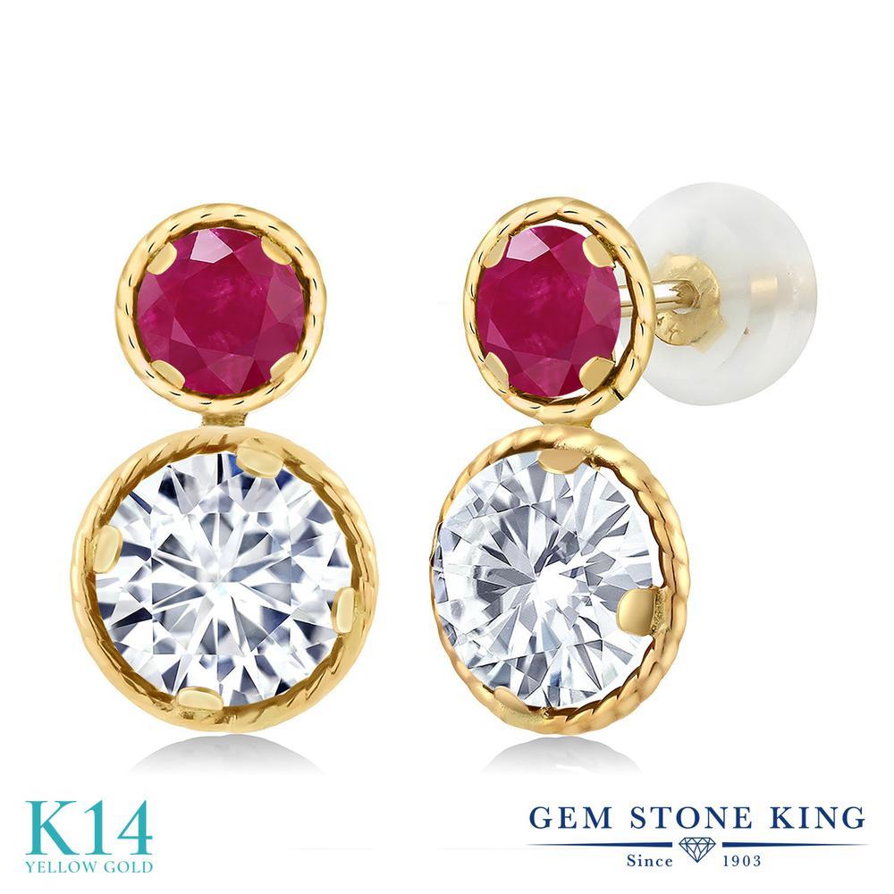 Gem Stone King 2.3カラット Forever One GHI モアッサナイト Charles & Colvard 天然ルビー 14金 イエローゴールド(K14) ピアス レディース モアサナイト 金属アレルギー対応 誕生日プレゼント, オーストリッチサンエー 2e33b08b