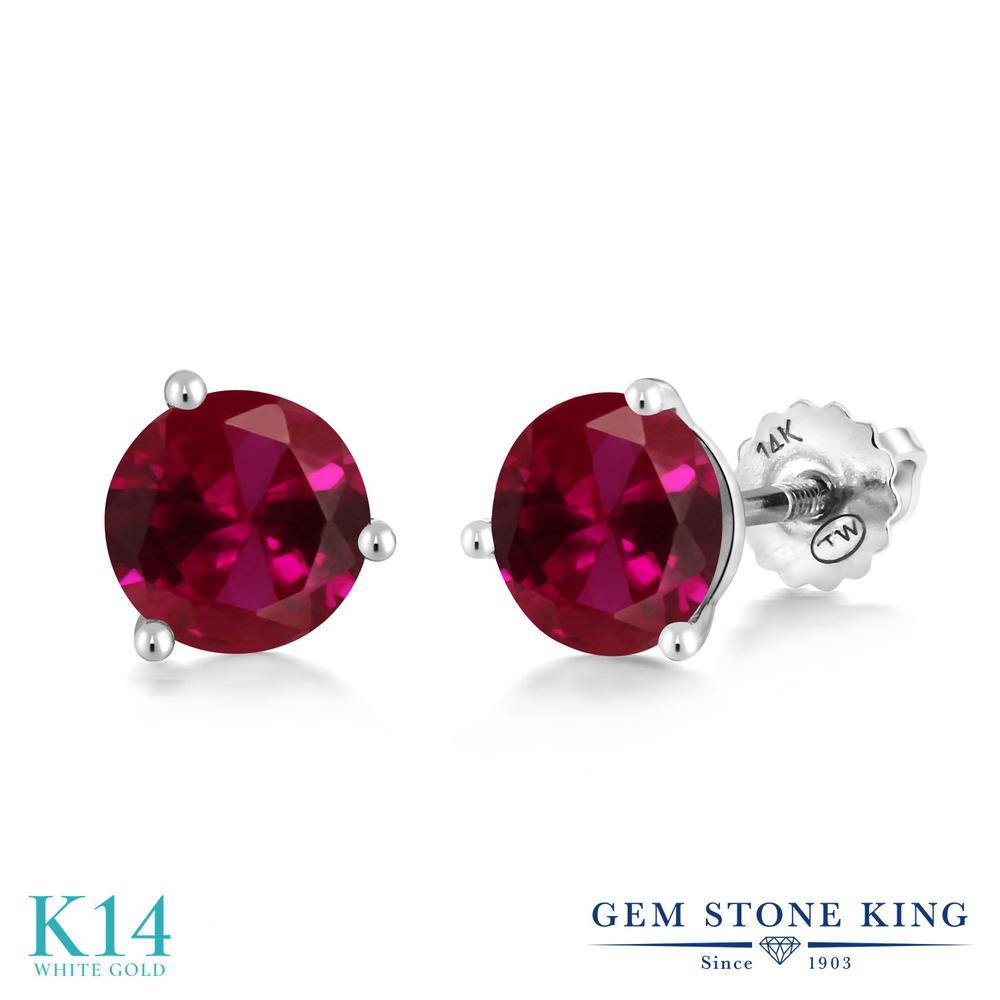 Gem Stone King 3.1カラット 合成ルビー 14金 ホワイトゴールド(K14) ピアス レディース 大粒 シンプル スクリュー 金属アレルギー対応 誕生日プレゼント