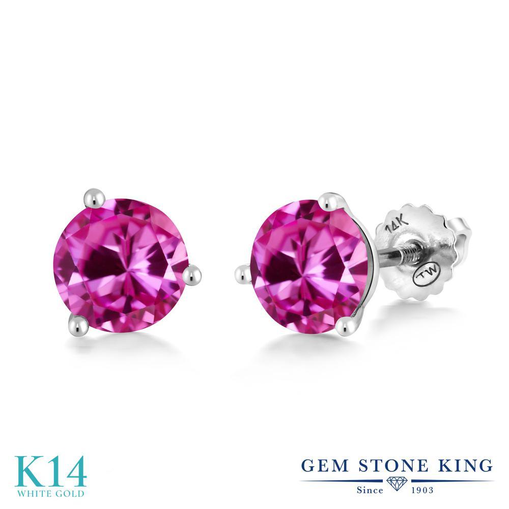 Gem Stone King 3.32カラット 合成ピンクサファイア 14金 ホワイトゴールド(K14) ピアス レディース 大粒 シンプル スクリュー 金属アレルギー対応 誕生日プレゼント