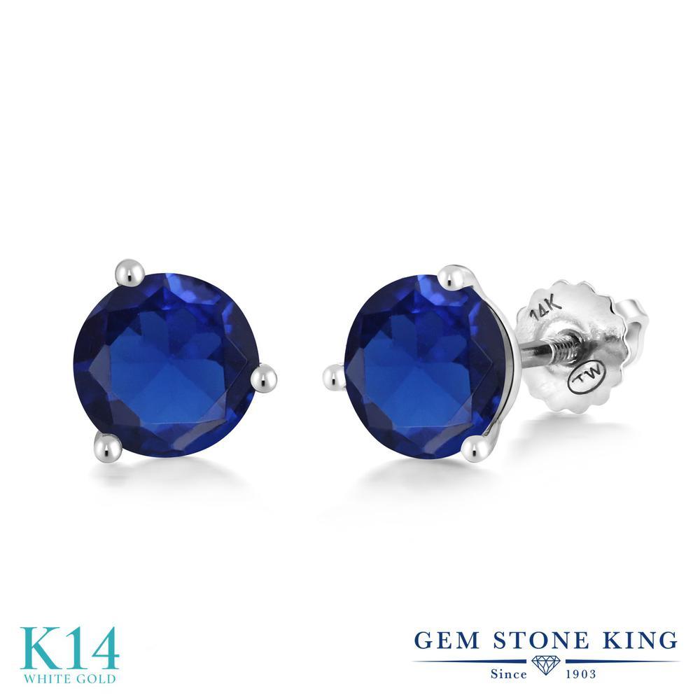 Gem Stone King 3.2カラット シミュレイテッド サファイア 14金 ホワイトゴールド(K14) ピアス レディース 大粒 シンプル スクリュー 金属アレルギー対応 誕生日プレゼント