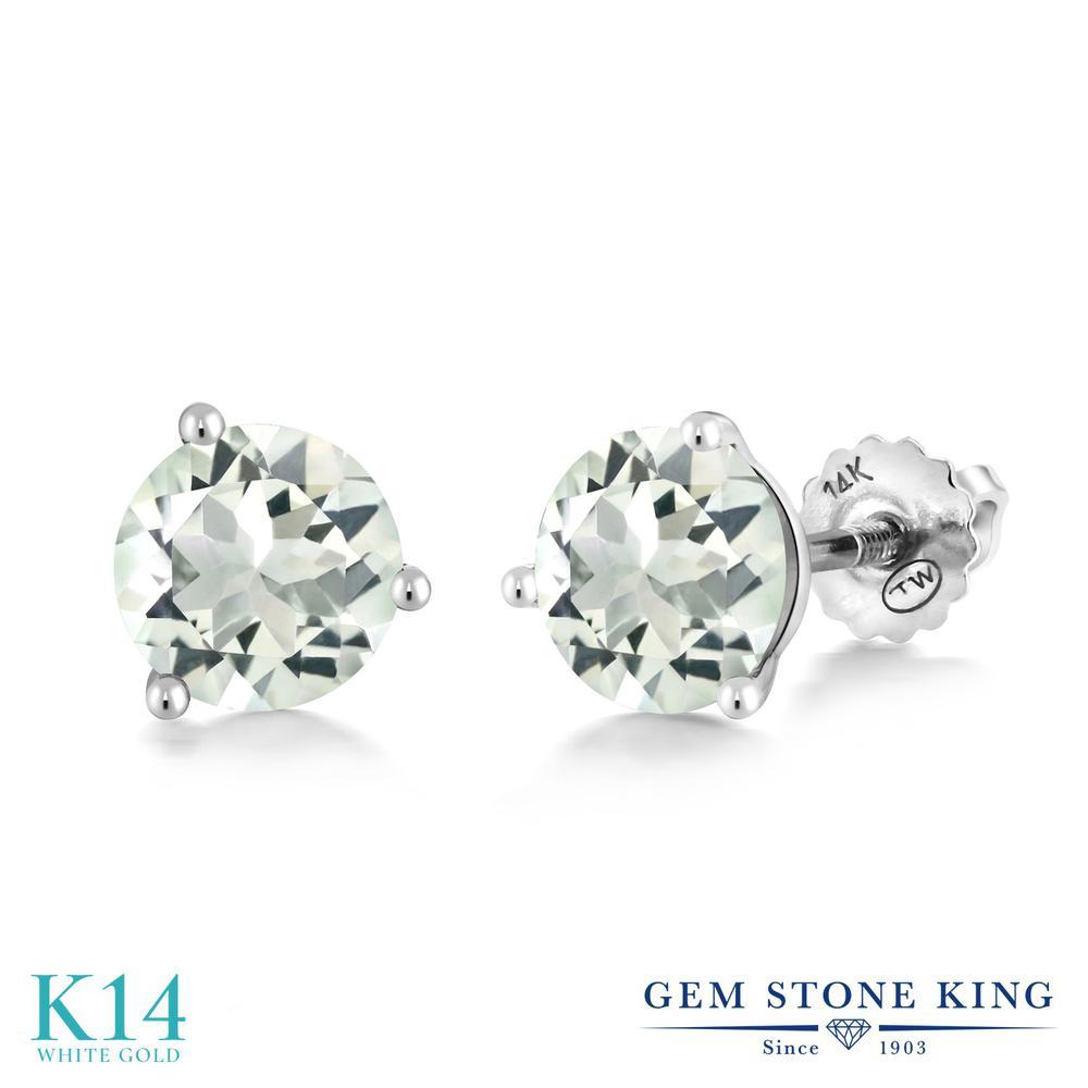 Gem Stone King 2.2カラット 天然 プラジオライト (グリーンアメジスト) 14金 ホワイトゴールド(K14) ピアス レディース 大粒 シンプル スクリュー 天然石 金属アレルギー対応 誕生日プレゼント