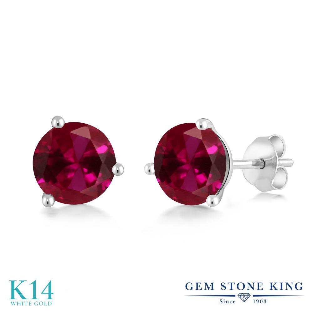 Gem Stone King 3.1カラット 合成ルビー 14金 ホワイトゴールド(K14) ピアス レディース 大粒 シンプル 金属アレルギー対応 誕生日プレゼント