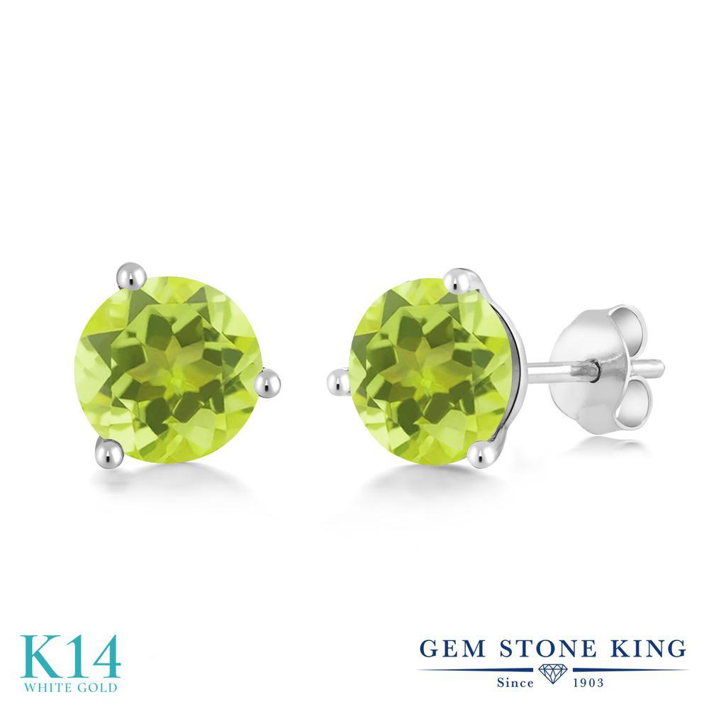 Gem Stone King 2.4カラット 天然 レモンクォーツ 14金 ホワイトゴールド(K14) ピアス レディース 大粒 シンプル 天然石 金属アレルギー対応 誕生日プレゼント