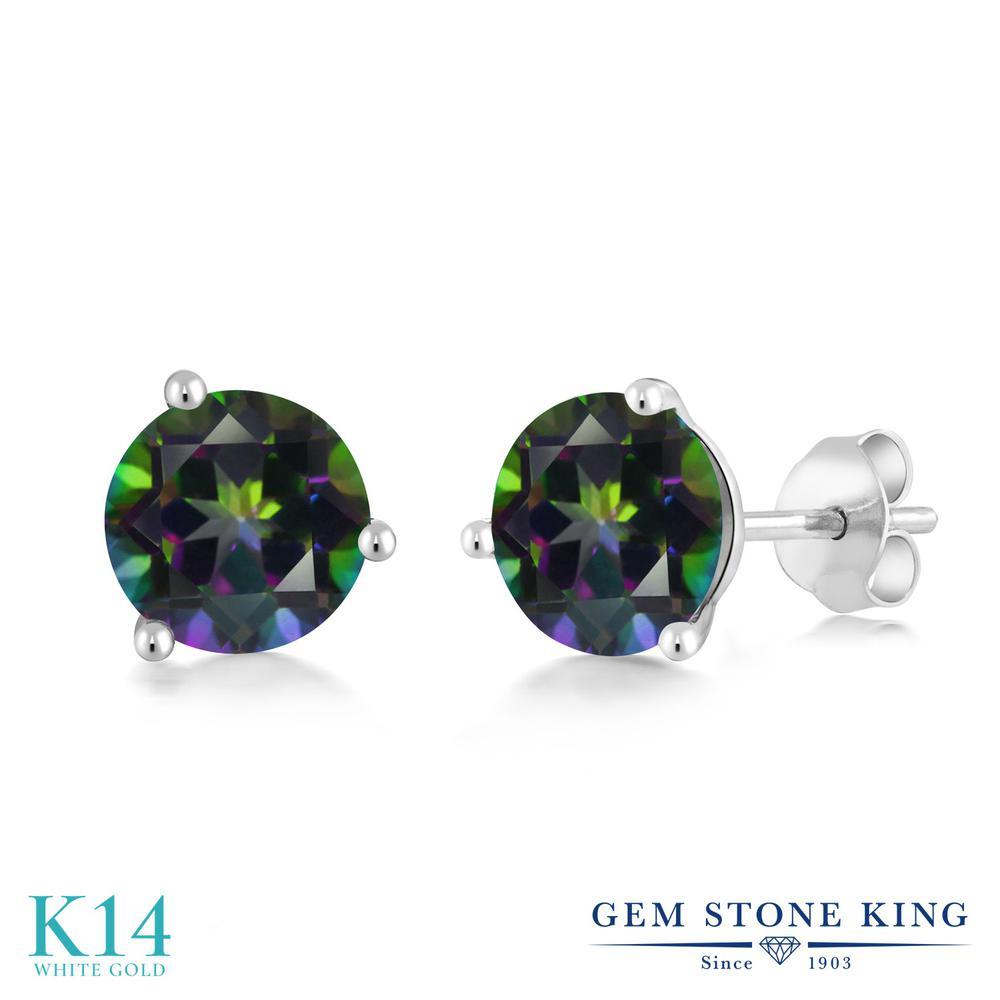 Gem Stone King 2.6カラット 天然石 ミスティックトパーズ (グリーン) 14金 ホワイトゴールド(K14) ピアス レディース 大粒 シンプル 天然石 金属アレルギー対応 誕生日プレゼント