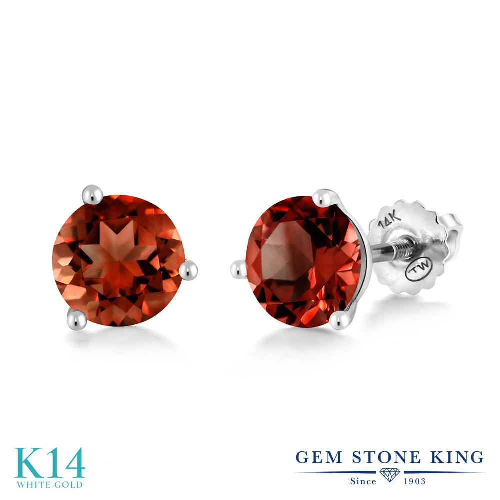 Gem Stone King 3カラット 天然 ガーネット 14金 ホワイトゴールド(K14) ピアス レディース 大粒 シンプル スクリュー 天然石 1月 誕生石 金属アレルギー対応 誕生日プレゼント