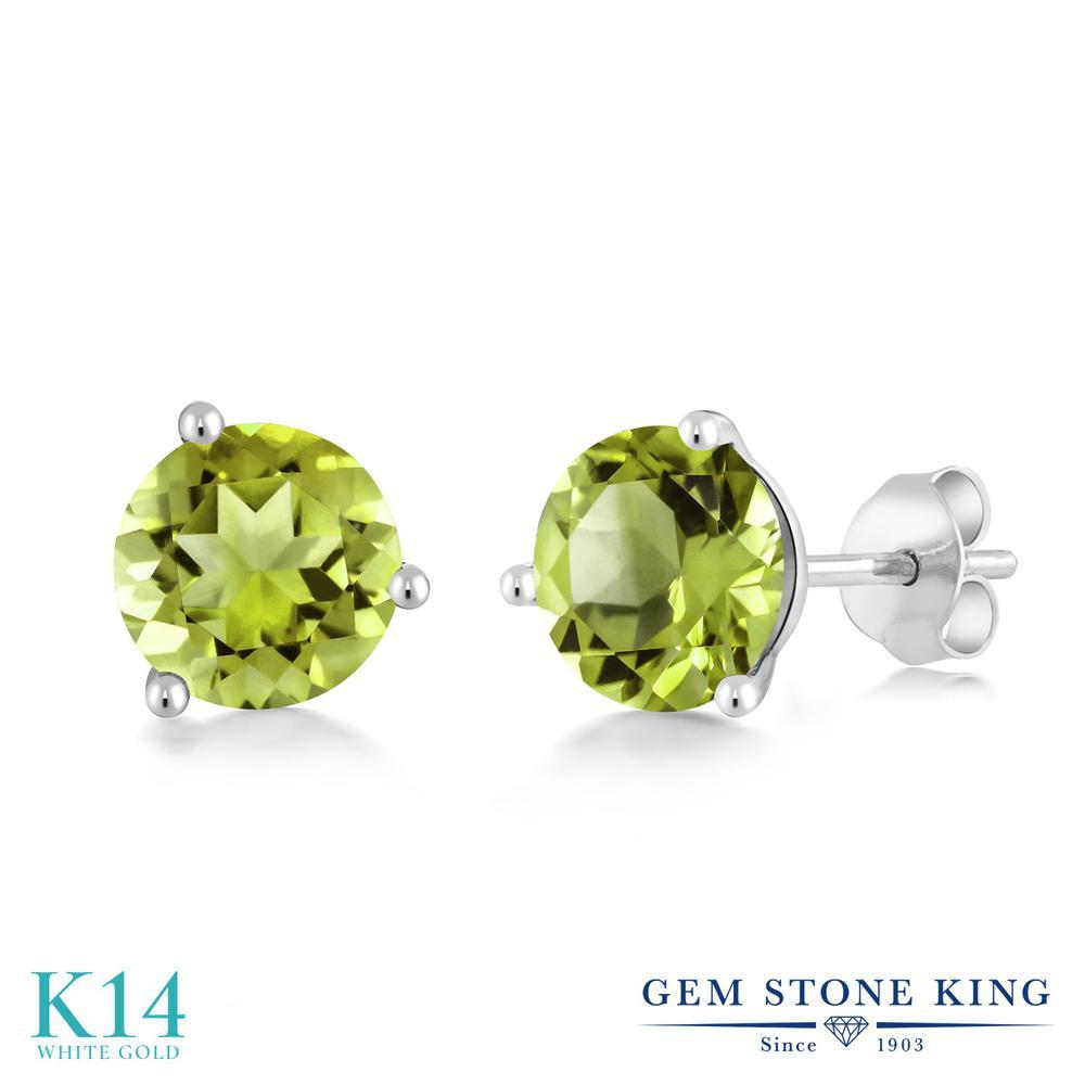 Gem Stone King 2.9カラット 天然石 ペリドット 14金 ホワイトゴールド(K14) ピアス レディース 大粒 シンプル 天然石 8月 誕生石 金属アレルギー対応 誕生日プレゼント
