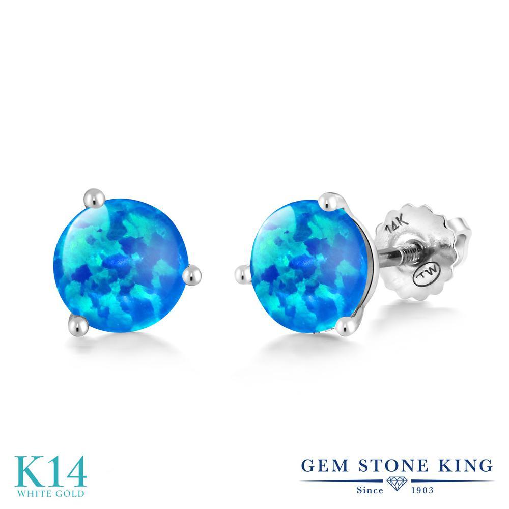 Gem Stone King 0.72カラット シミュレイテッド ブルーオパール 14金 ホワイトゴールド(K14) ピアス レディース 小粒 シンプル スクリュー 10月 誕生石 金属アレルギー対応 誕生日プレゼント