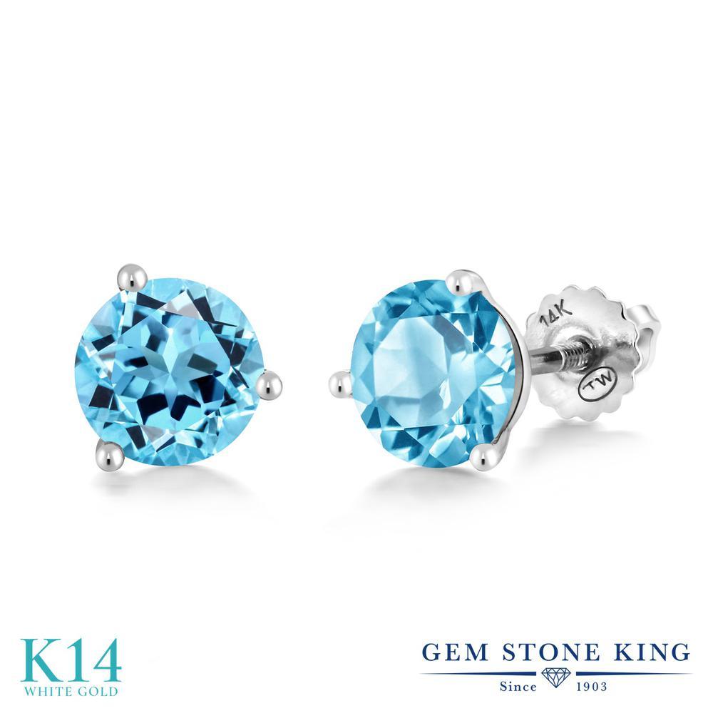 Gem Stone King 3.3カラット 天然 スイスブルートパーズ 14金 ホワイトゴールド(K14) ピアス レディース 大粒 シンプル スクリュー 天然石 11月 誕生石 金属アレルギー対応 誕生日プレゼント