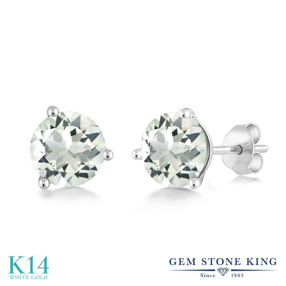 Gem Stone King 2.2カラット 天然 プラジオライト (グリーンアメジスト) 14金 ホワイトゴールド(K14) ピアス レディース 大粒 シンプル 天然石 金属アレルギー対応 誕生日プレゼント